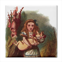 Alice In Wonderland And The Baby Pig Color Art Ceramic Tile