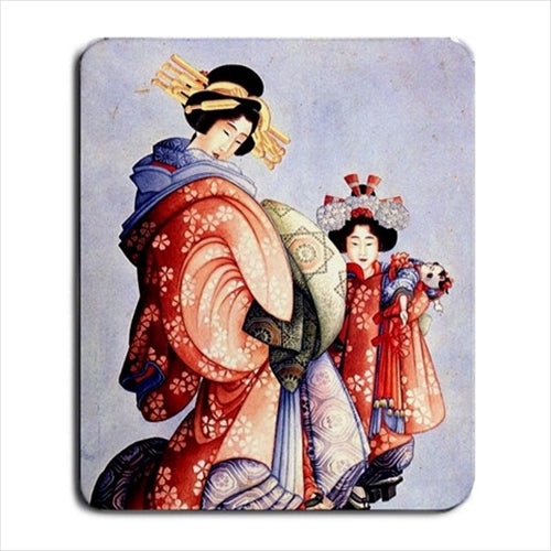 Oiran and Kamuro Japanese Japan Hokusai Art Computer Mat Mouse Pad