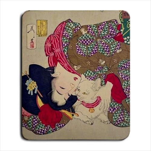 Japanese Woman Playing With Her Cat Japan Art Computer Mat Mouse Pad