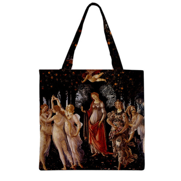 Three Graces Botticelli Art Canvas Grocery Shopping Book Tote Bag