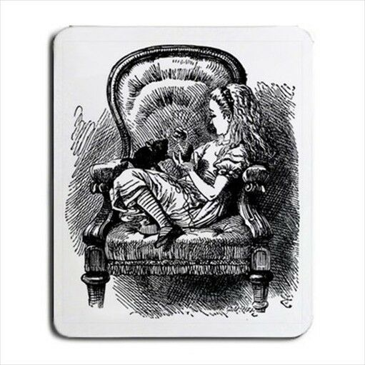 Alice In Wonderland And Her Kitten Black White Computer Mouse Pad Mat