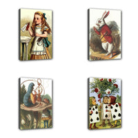 Alice In Wonderland Mini Stretched Canvas Decorative Art 4 Print Vertical Set