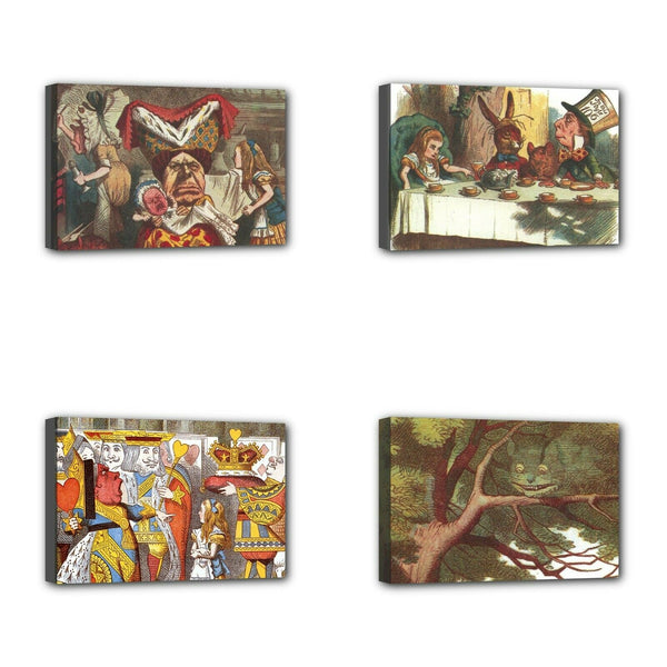 Alice In Wonderland Mini Stretched Decorative Art 4 Print Horizontal Set