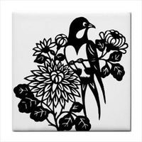 Bird Flowers Black Floral Art Decorative Coaster Ceramic Tile Art