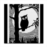 Owl Full Moon Art Decorative Coaster Ceramic Tile Art