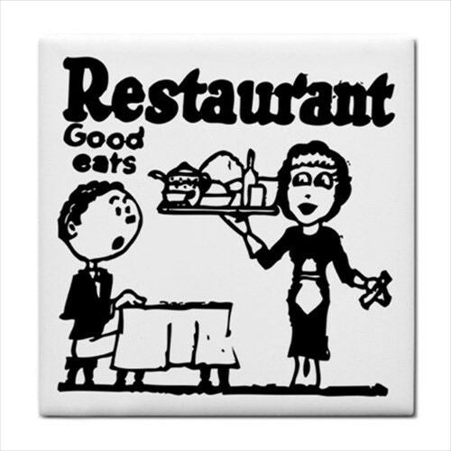 Restaurant Good Eats Vintage Ad Decorative Kitchen Ceramic Tile