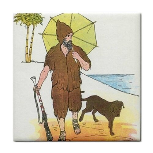 Robinson Crusoe Rhyme Vintage Art Ceramic Tile