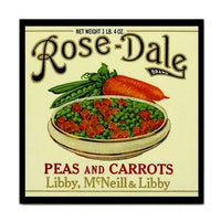 Rose Dale Peas And Carrots Vintage Ad Art Ceramic Tile