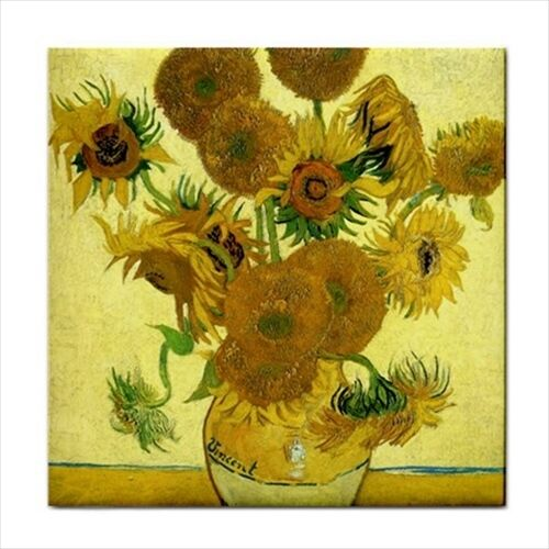 Still Life Vase With Fifteen Sunflowers Van Gogh Art Decorative Ceramic Tile
