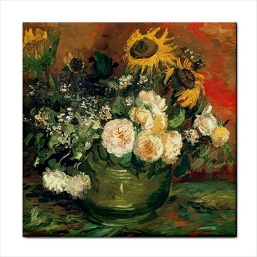Still Life With Roses and Sunflowers Van Gogh Art Decorative Ceramic Tile