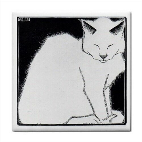 White Cat Ceramic Tile M C Escher Decorative Backsplash Border Wall Art