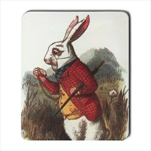 White Rabbit I'm Late Alice In Wonderland Color Art Computer Mouse Pad Mat