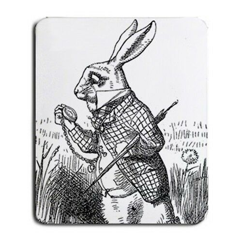 White Rabbit I'm Late Alice In Wonderland Computer Mouse Pad Mat Mousepad New