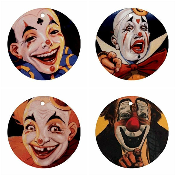 Circus Clowns Ceramic Christmas Decorative Ornaments (Set of 4)