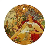 Seasons Alphonse Mucha Art Nouveau Home Decor Set Of 4 Ceramic Ornaments