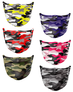 Contraband Pink Label 13217 Camo Print Sport Face Cover/Sport Mask - Polyester Washable & Breathable - 6 Colors (Sold AS A Set)