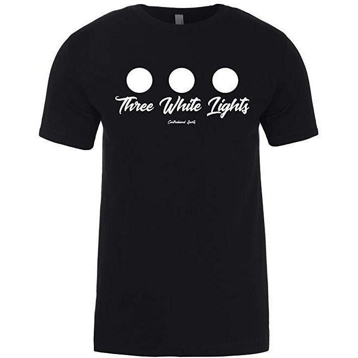 Contraband Sports 10309 Three White Lights Classic Powerlifting Design Unisex Mens T-Shirt