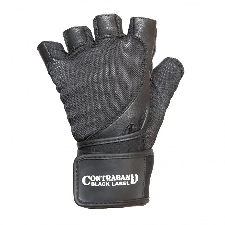 Contraband Black Label 5730 Stretch Fit Wrist Wrap Gloves w/ Split Leather Palm
