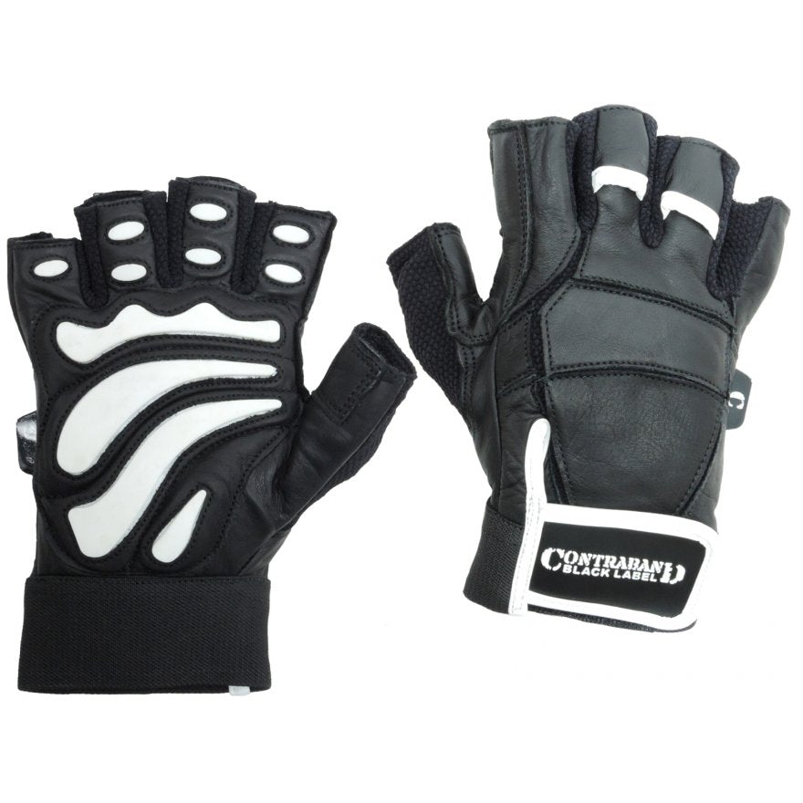 Contraband Black Label 5890 Premium Leather Weight Lifting Gloves w/ Rubber Xtreme Traction Pads