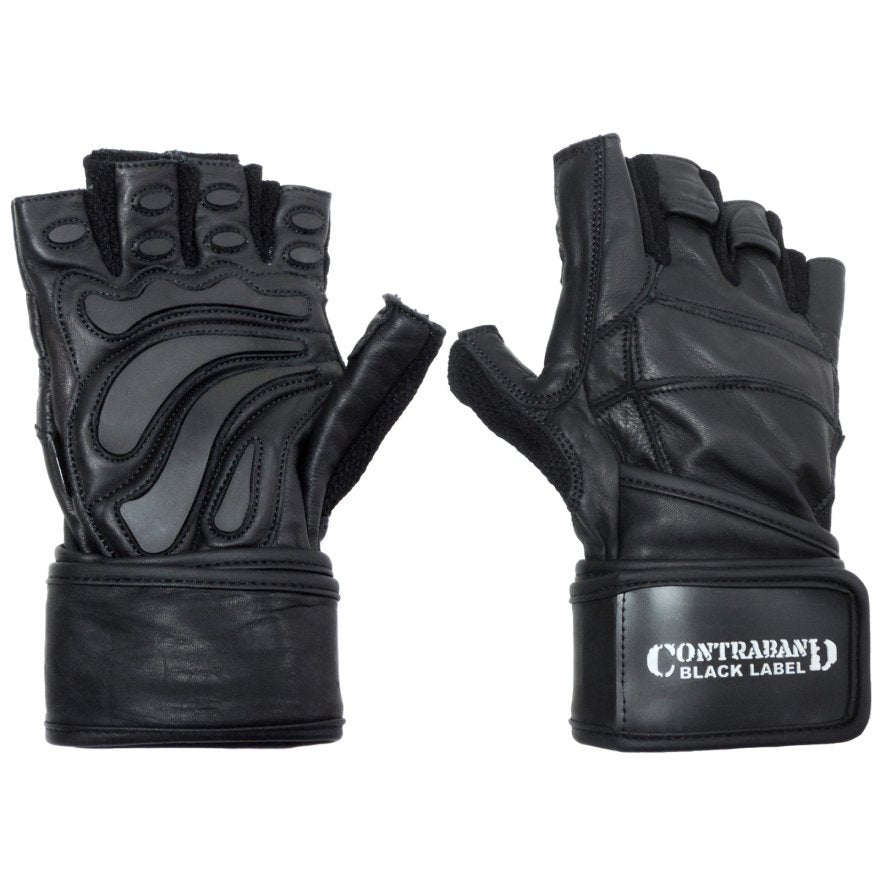Contraband Black Label 5990 Premium Leather Wrist-Wrap Gloves w/ Rubber Xtreme Traction Pads