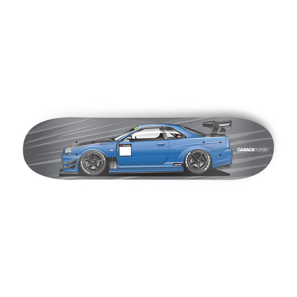 Blue R34 Skyline Skate Deck