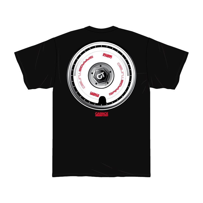 GT White Wheel Black Tee