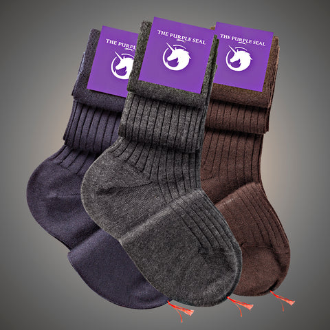 Cashmere and silk socks in blue, grey and brown made to measure by The Purple Seal