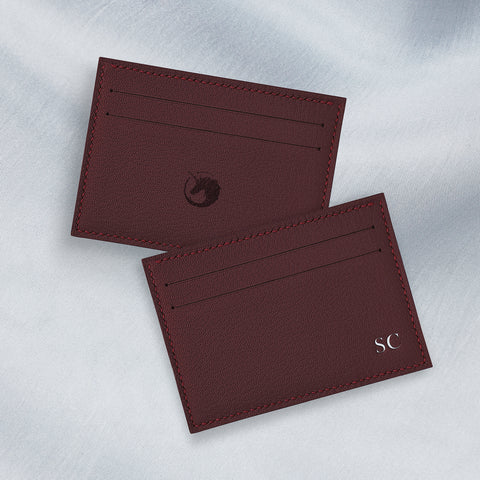Geminus II handmade to order card holder in Bordeaux with 4 card slots and central pocket by The Purple Seal