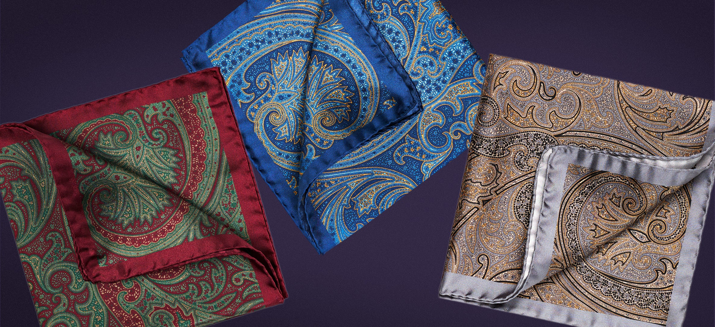 Silk pocket squares made in Italy with paisley print in burgundy/green, blue/yellow and gold/silver. One free when you order a scarf