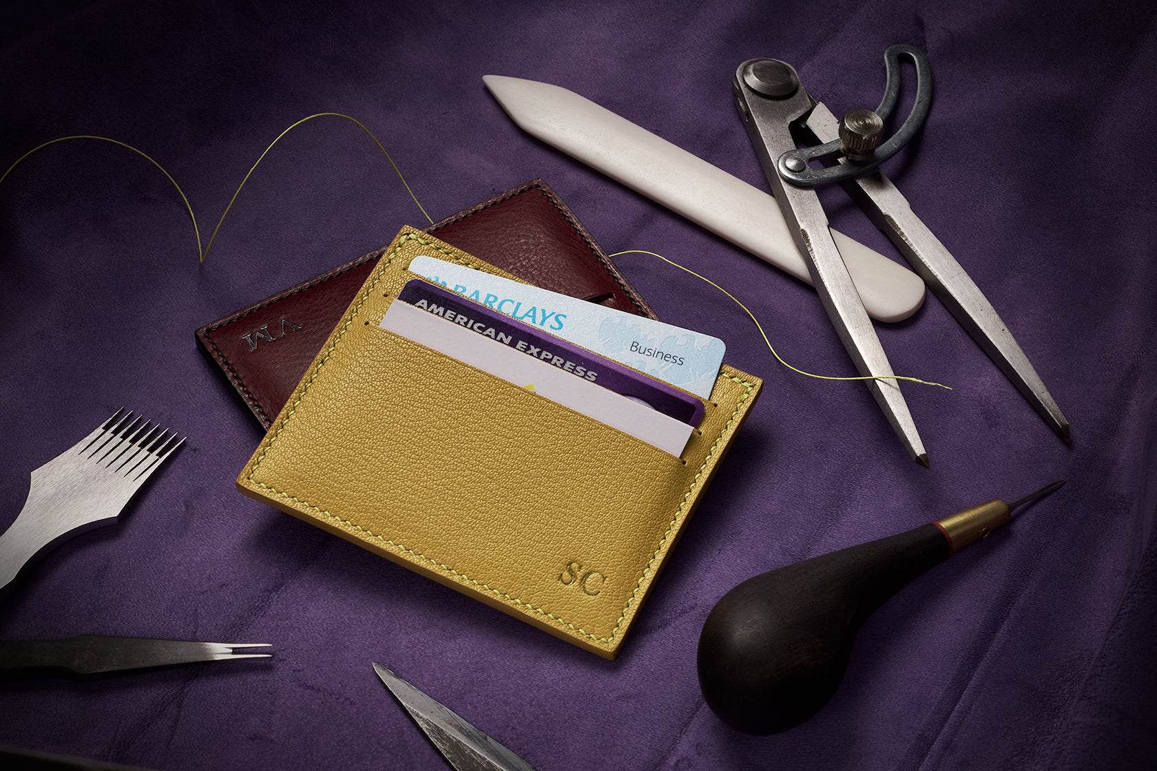 Made to order French Goat Leather & Silk card holder by The Purple Seal leather workshop