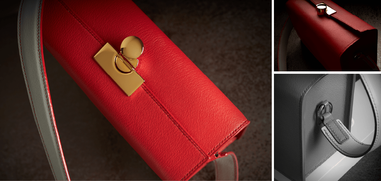 Bespoke red leather handbag with solid gold hardware handmade in the United Kingdom