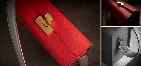 The Purple Seal bespoke goat leather red handbag