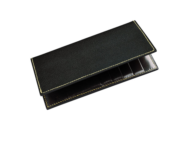 "Black coat wallet with black interior leather, storm grey edges and ""sky grey"" thread. 10 card slots and two long pockets along the height. Fully handmade to order in the UK"