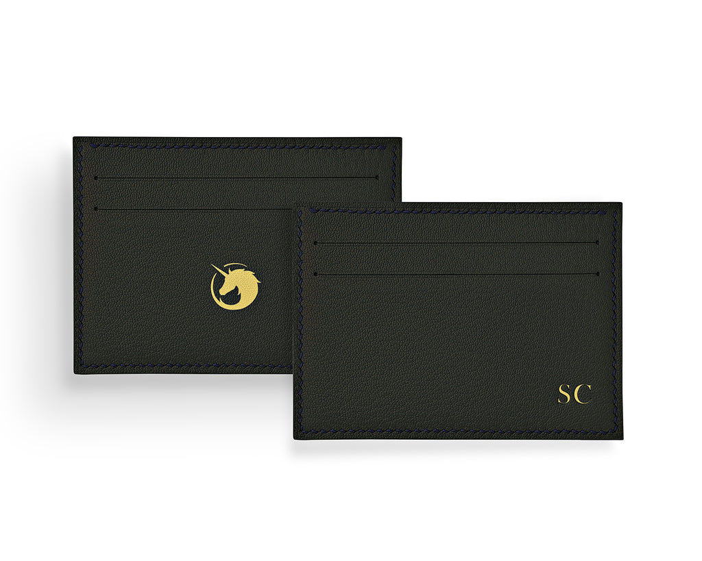 Geminus II - Black Forest - Made to order Goat Leather & Silk card holder