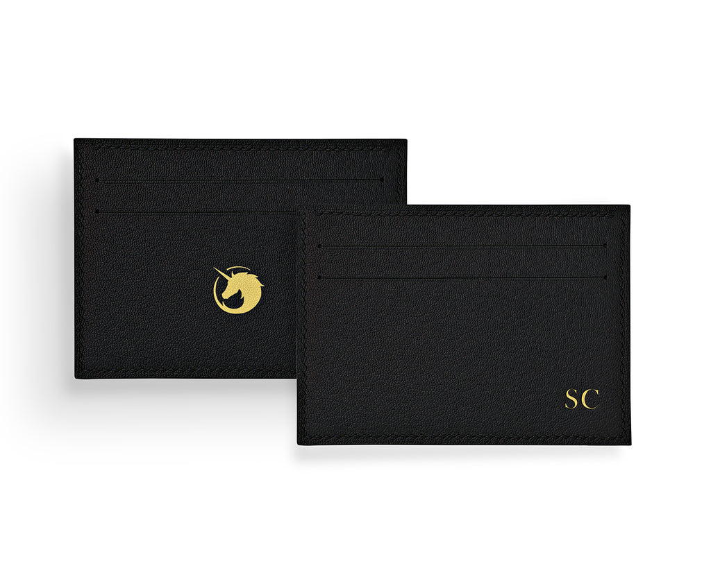 Geminus II  - Panther Black- Made to order Goat Leather & Silk card holder
