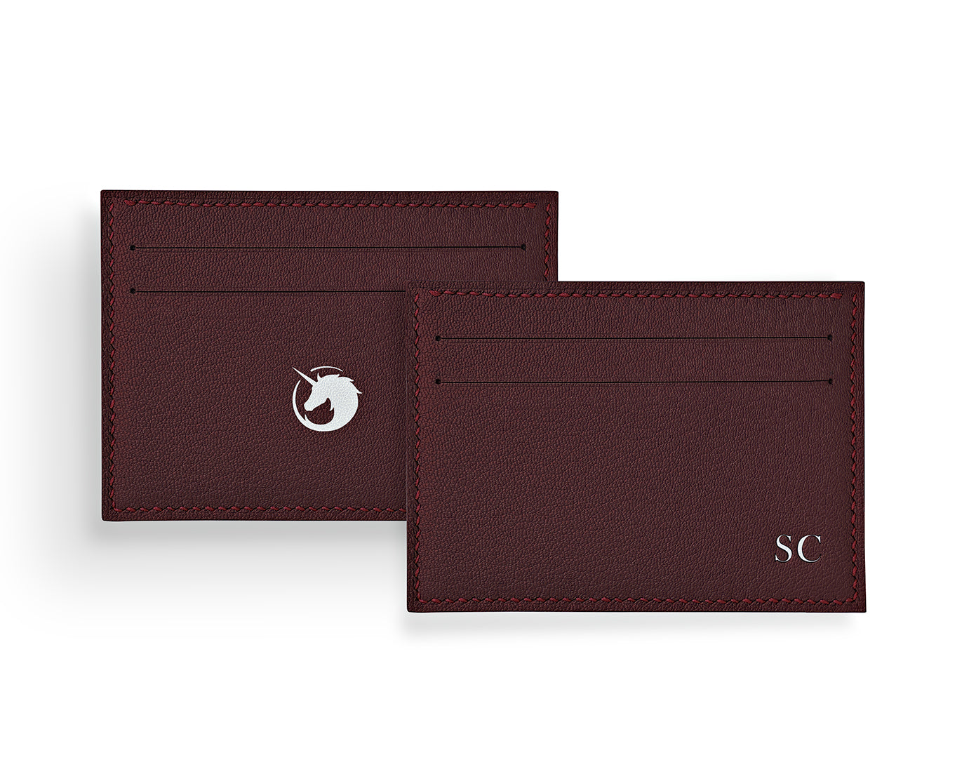 Geminus II - Bordeaux - Made to order Goat Leather & Silk card holder