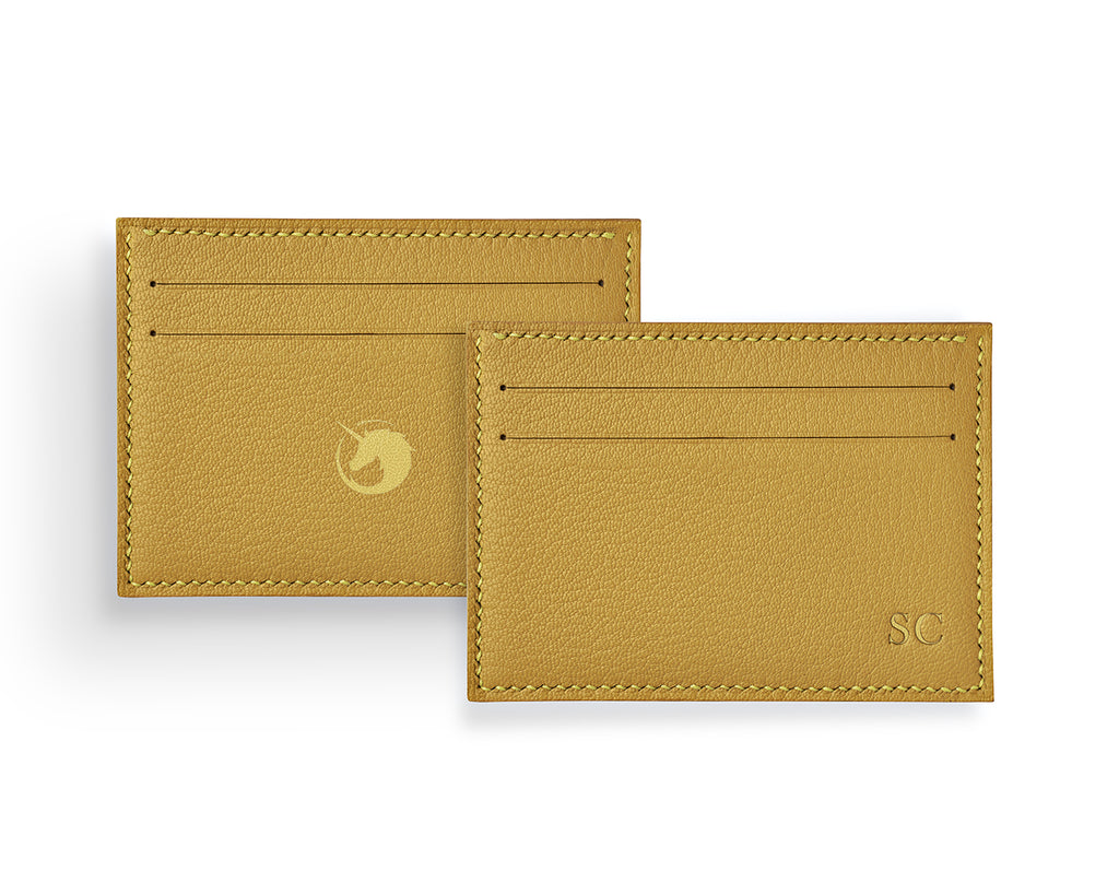 Geminus II - Brimstone Yellow - Made to order Goat Leather & Silk card holder