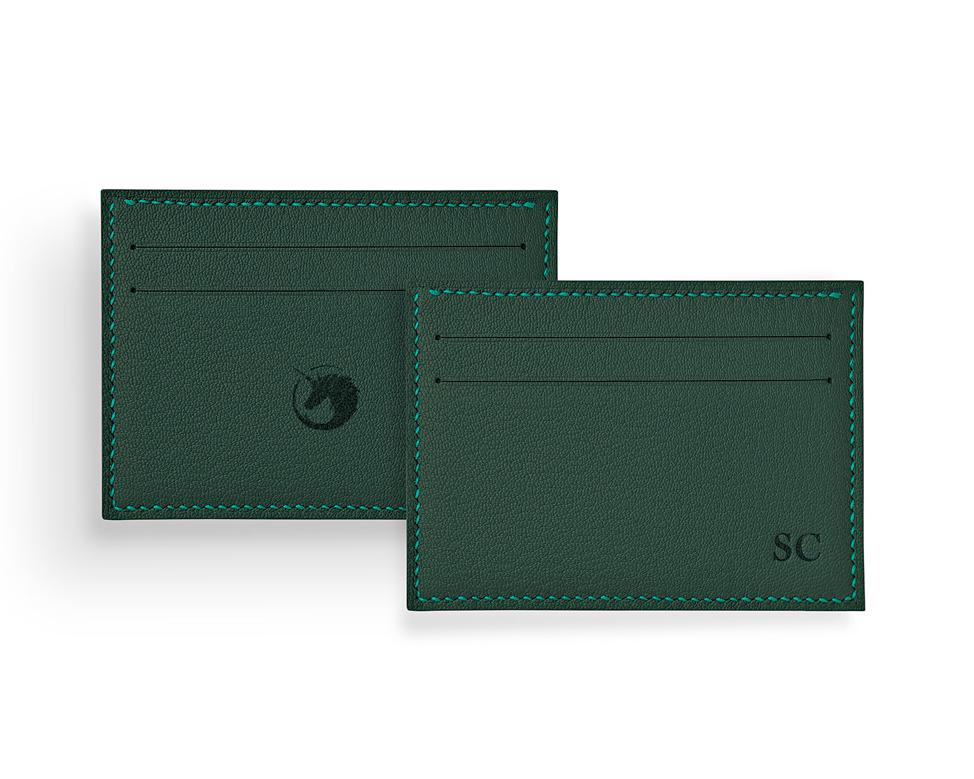 Geminus II - Forest Green - Made to order Goat Leather & Silk card holder