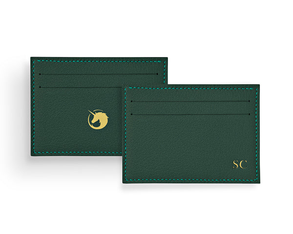 Green handmade to order personalised leather key holder with optional initials and metal hardware in gold or silver. Made in the UK with French goat leather by The Purple Seal. Design your handmade key holder by selecting the initials embossing style, and the interior leather and thread colour.
