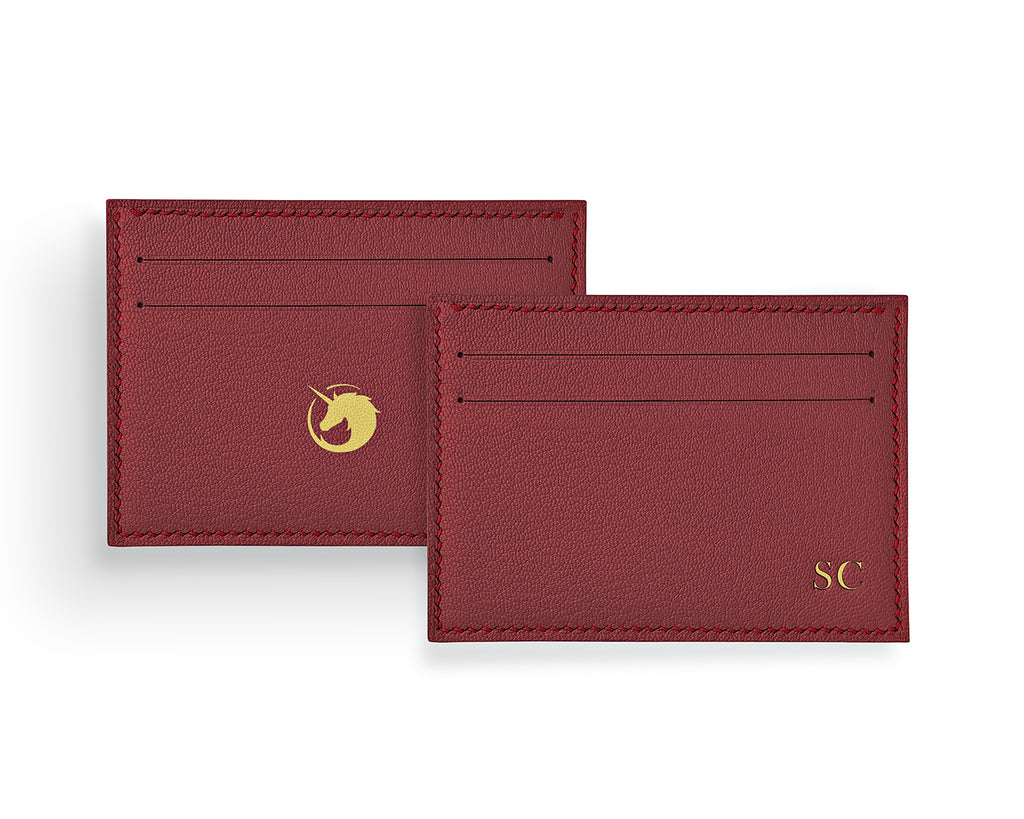 Geminus II - Lobster Red - Made to order Goat Leather & Silk card holder