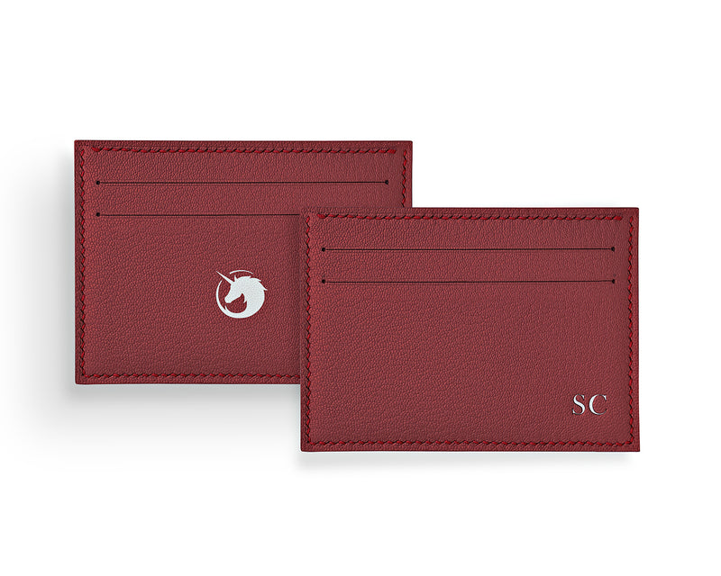 Geminus II - Lobster Red - Custom Goat Leather & Silk card holder