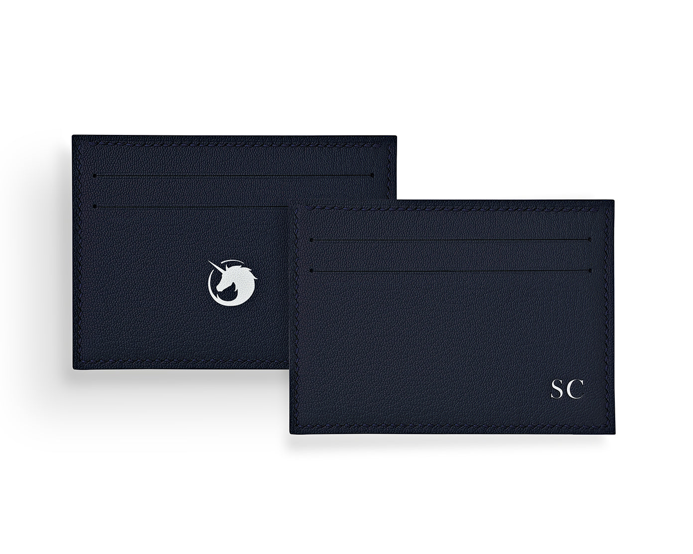 Geminus II - Navy - Made to order Goat Leather & Silk card holder