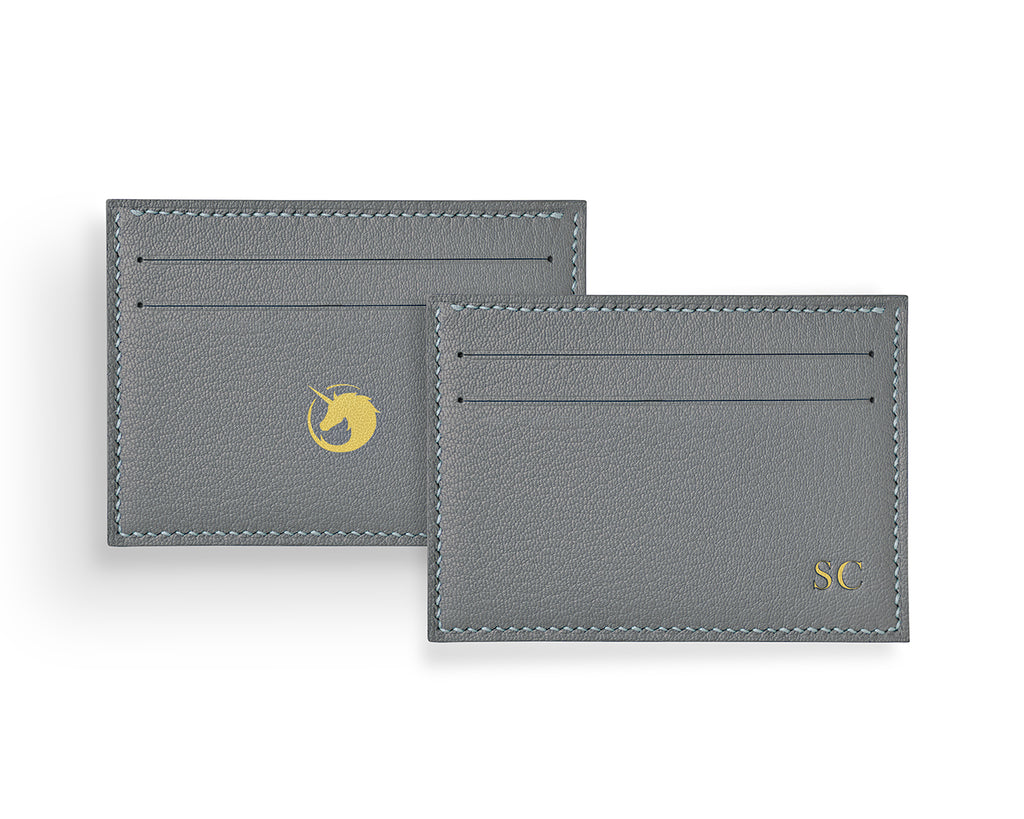 Geminus II - Pearl Grey - Made to order Goat Leather & Silk card holder