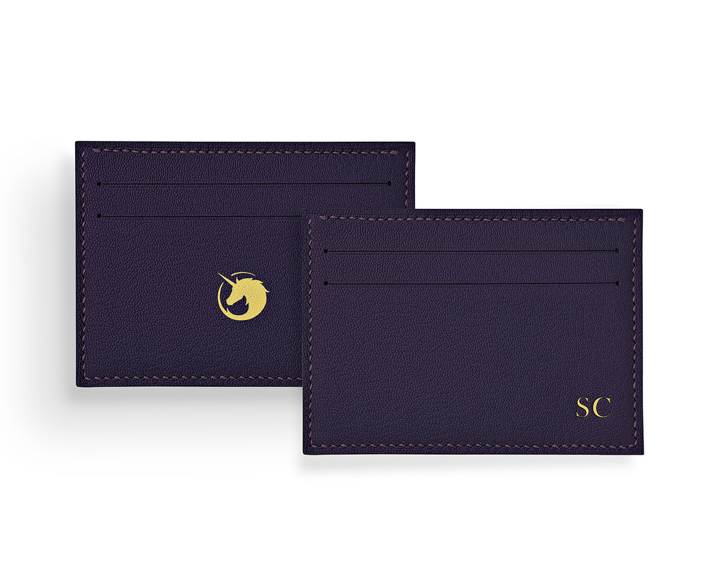 Geminus II - Deep Royal Purple - Made to order Goat Leather & Silk card holder