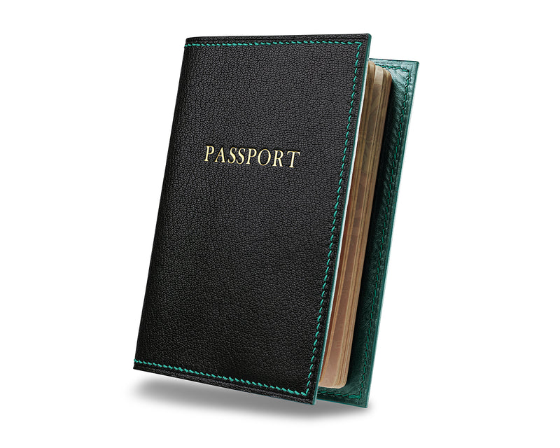 Panther Black -  Custom Leather Passport Cover