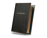 Custom and personalised dark green leather passport cover, with golden or silver initials and choice of leather colour interior.