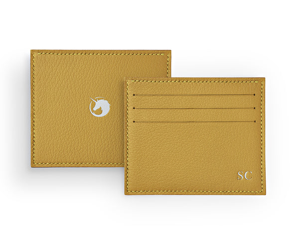 Solus III - Brimstone Yellow - Custom Goat Leather & Silk card holder