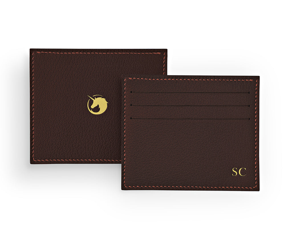 Solus III - Dark Roast - Made to order Goat Leather & Silk card holder