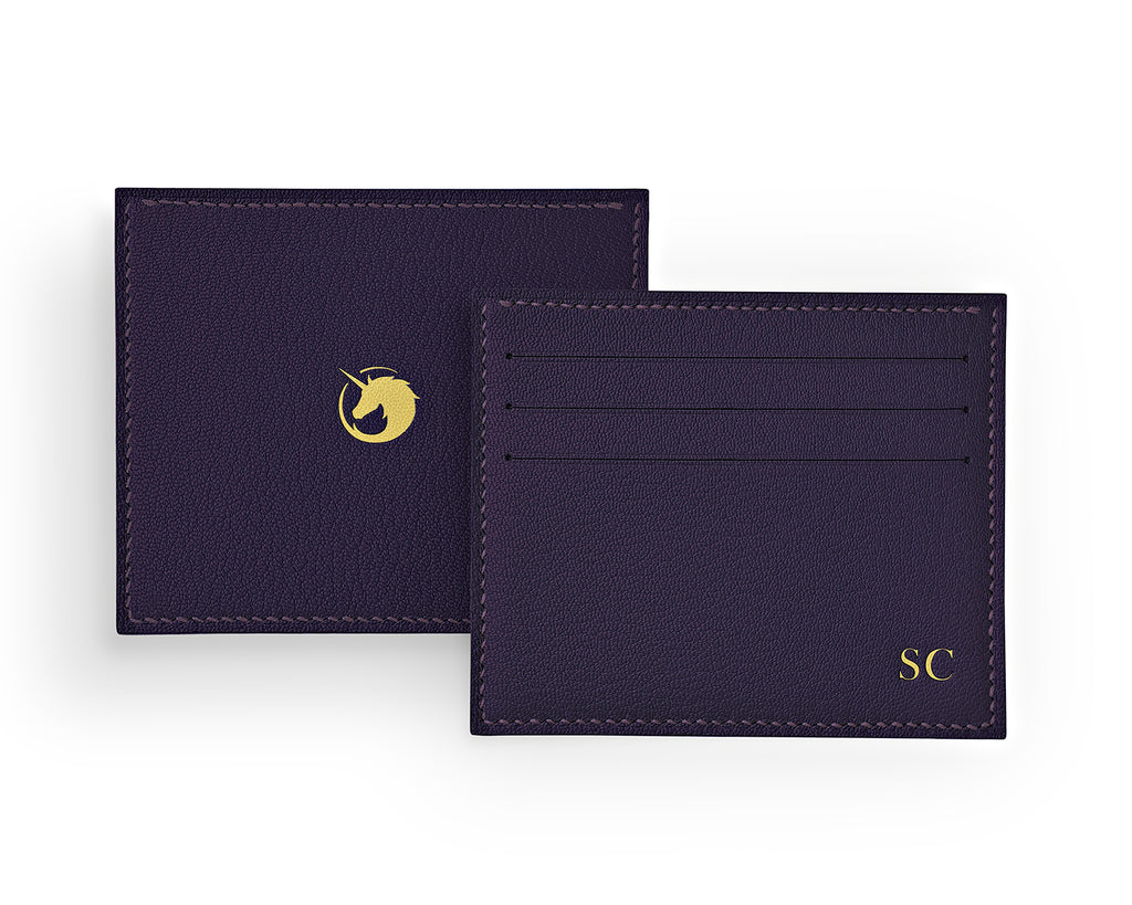 Solus III - Deep Royal Purple - Made to order Goat Leather & Silk card holder
