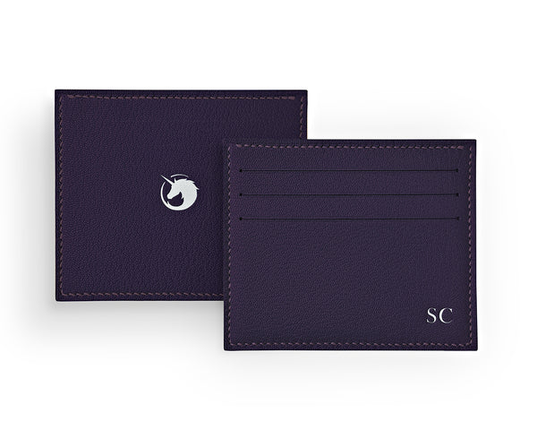Solus III - Deep Royal Purple - Custom Goat Leather & Silk card holder